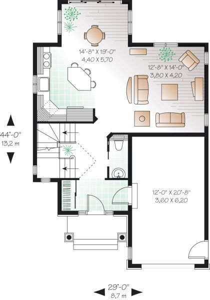 Plano planta baja casa de 2 pisos y 3 habitaciones leilany balbuena pinterest chang 39 e 3 - Casas en planta baja ...