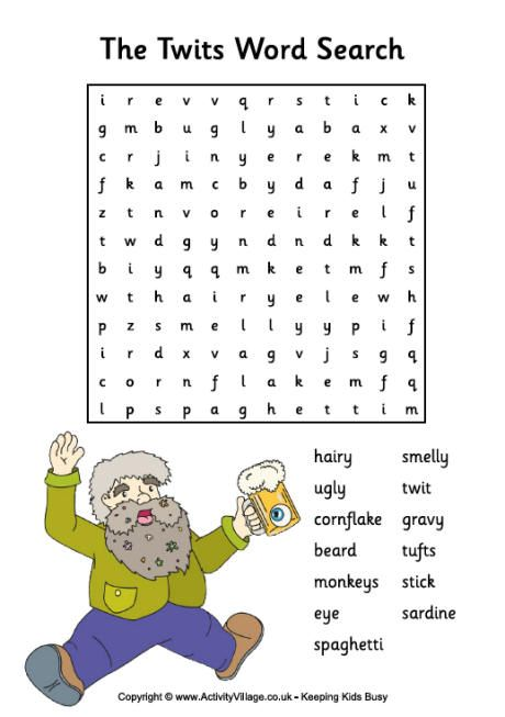 The Twits Word Search | Roald dahl activities, The twits ...