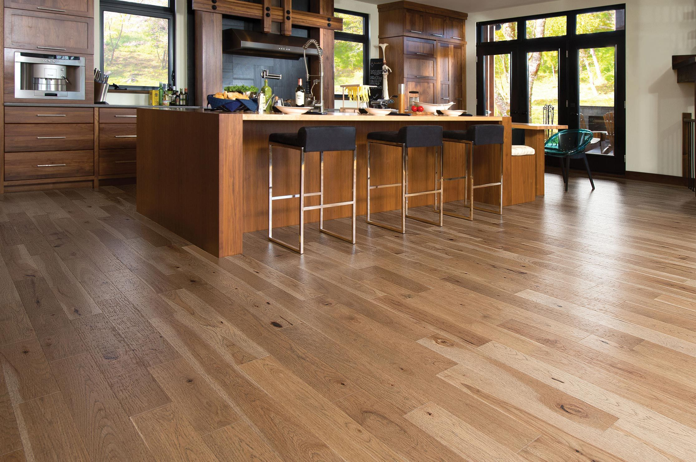 Mirage Hardwood flooring photo album - Mirage Floors Old Hickory Seashell.  A greyish, amber brown for a warm, friendly ambiance.