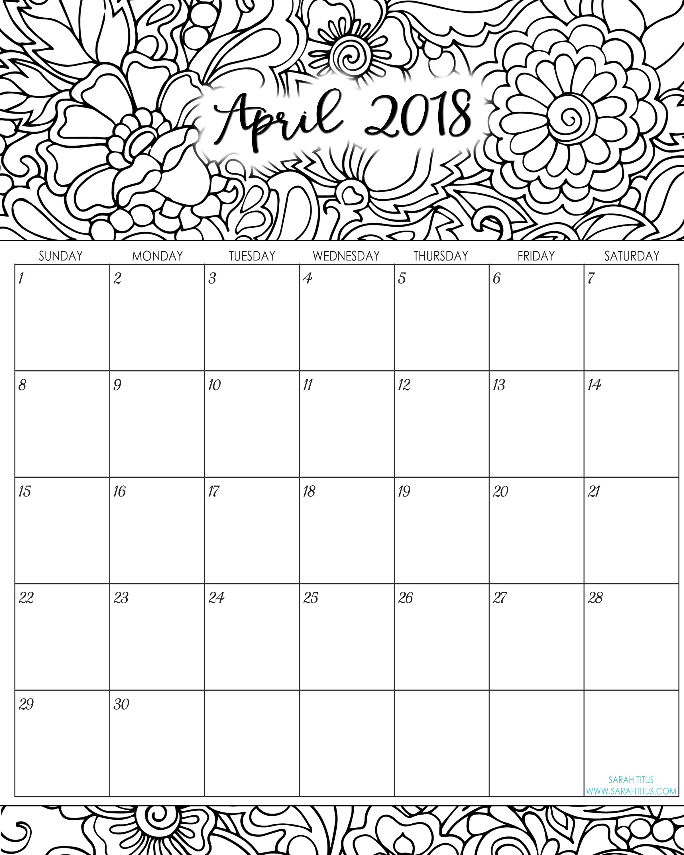 2018 Monthly Coloring Calendars Printables | Planners, Bullet ...