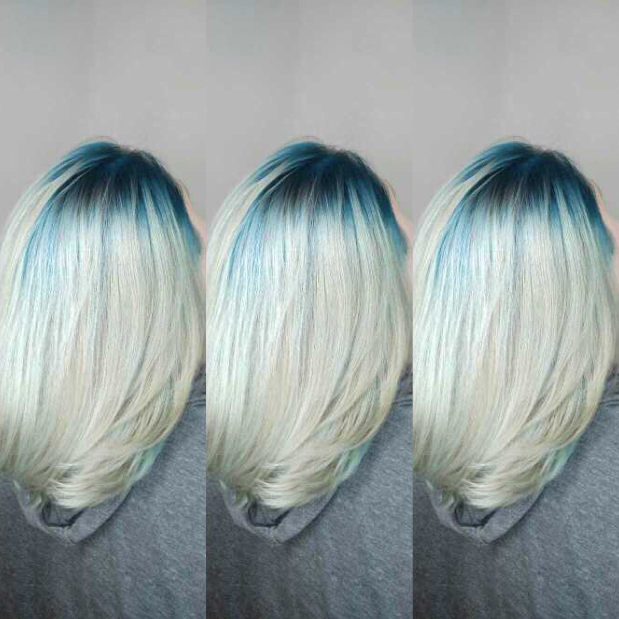 The End Result Of Going From A Red Bayalage To This Gorgeous Platinum Blonde With A Custom Teal Root Using Blonde Hair With Roots Shadow Roots Hair Roots Hair