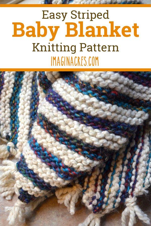 Striped Baby Blanket Knitting Pattern | Easy knit baby ...