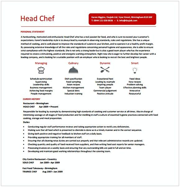 Head Chef Resume , Hotel and Restaurant Management , Being in a
