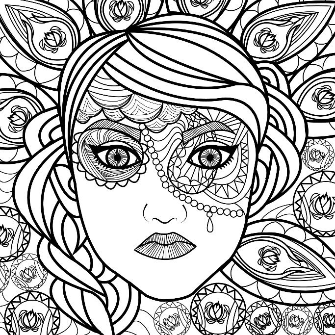 Lovely lady coloring page for you to color with Adult Coloring Pages ...