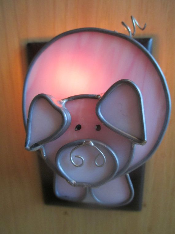 THE BARNYARD OINKER Stained Glass Pig Night by Shimmerofglass, $23.00