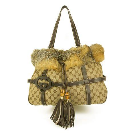 3f7a33d43bd0 GUCCI Beige Canvas Monogram GG Fox Fur Trim Tassel Large Tote Bag Shopper