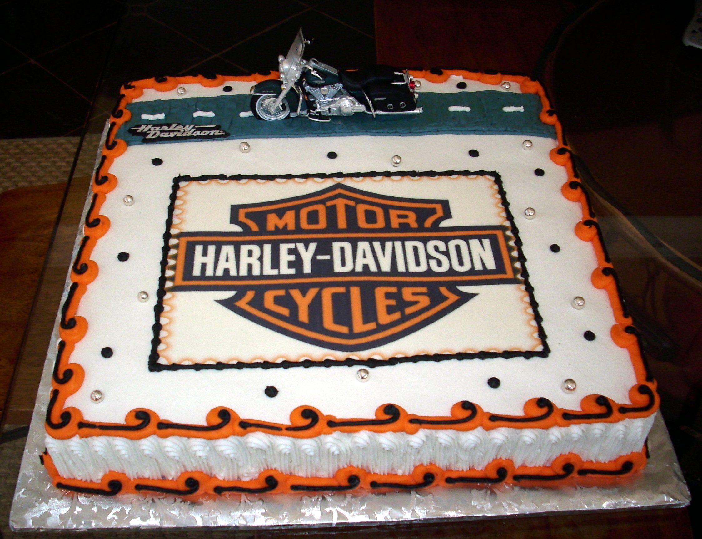 Yellow Flower 80th Birthday Cake Harley Davidson Birthday