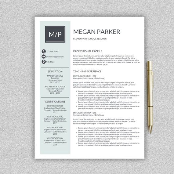 Teacher Resume Template For Word  Resume By Prographicdesign
