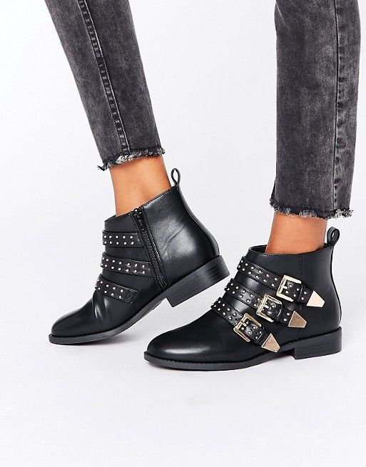 Faith Brixton Stud Strap Flat Ankle Boots at asos.com