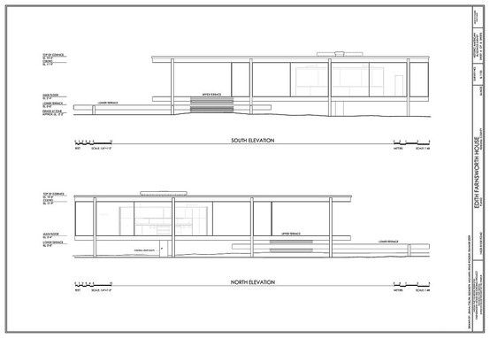 Elevation Plan With Dimension : Farnsworth house plan section elevation arquitectura