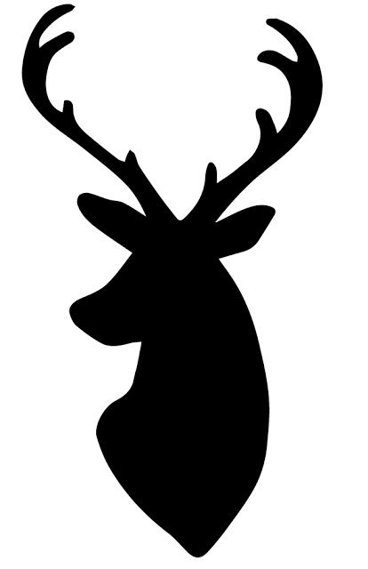 Deer head outline. Silhouette cutouts stencil
