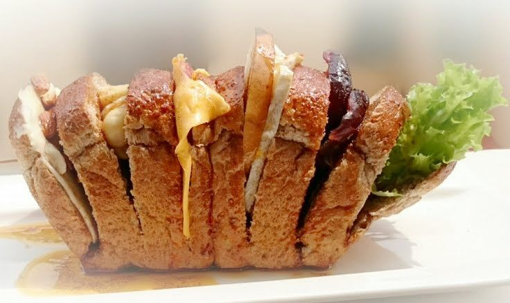 """Camembert Cheese And Fruits Diet Brunch Loaf Sandwich / DAY 7! """"MY SIGNATURE VERSION  ~  ~ MY MASTERPIECE  ~  ~ DAY 7 ~ MEATLESS DIET BRUNCH SANDWICH  ~  ~ LOVING IT""""  @allthecooks #recipe #sandwich"""