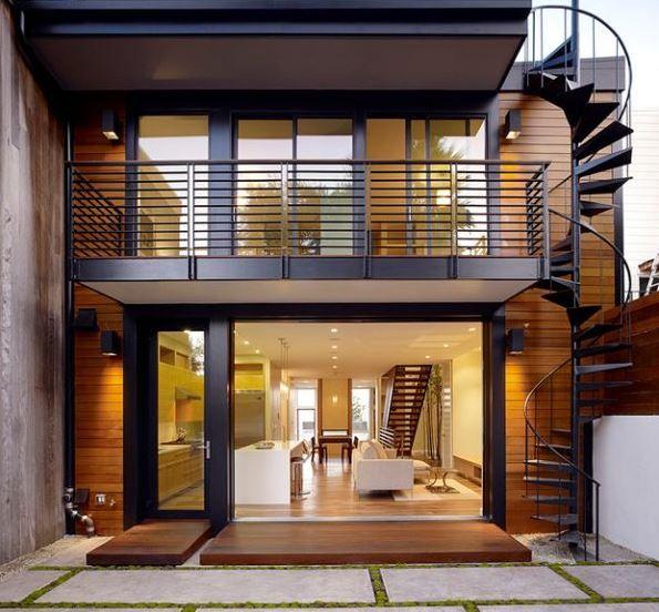 Escaleras caracol para casas de 2 pisos decoraciones y for Planos terrazas exteriores