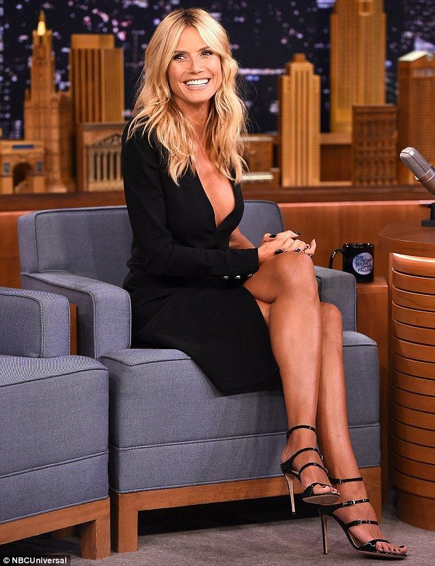 Heidi Klum, 42, displays fabulous figure in sexy black ...