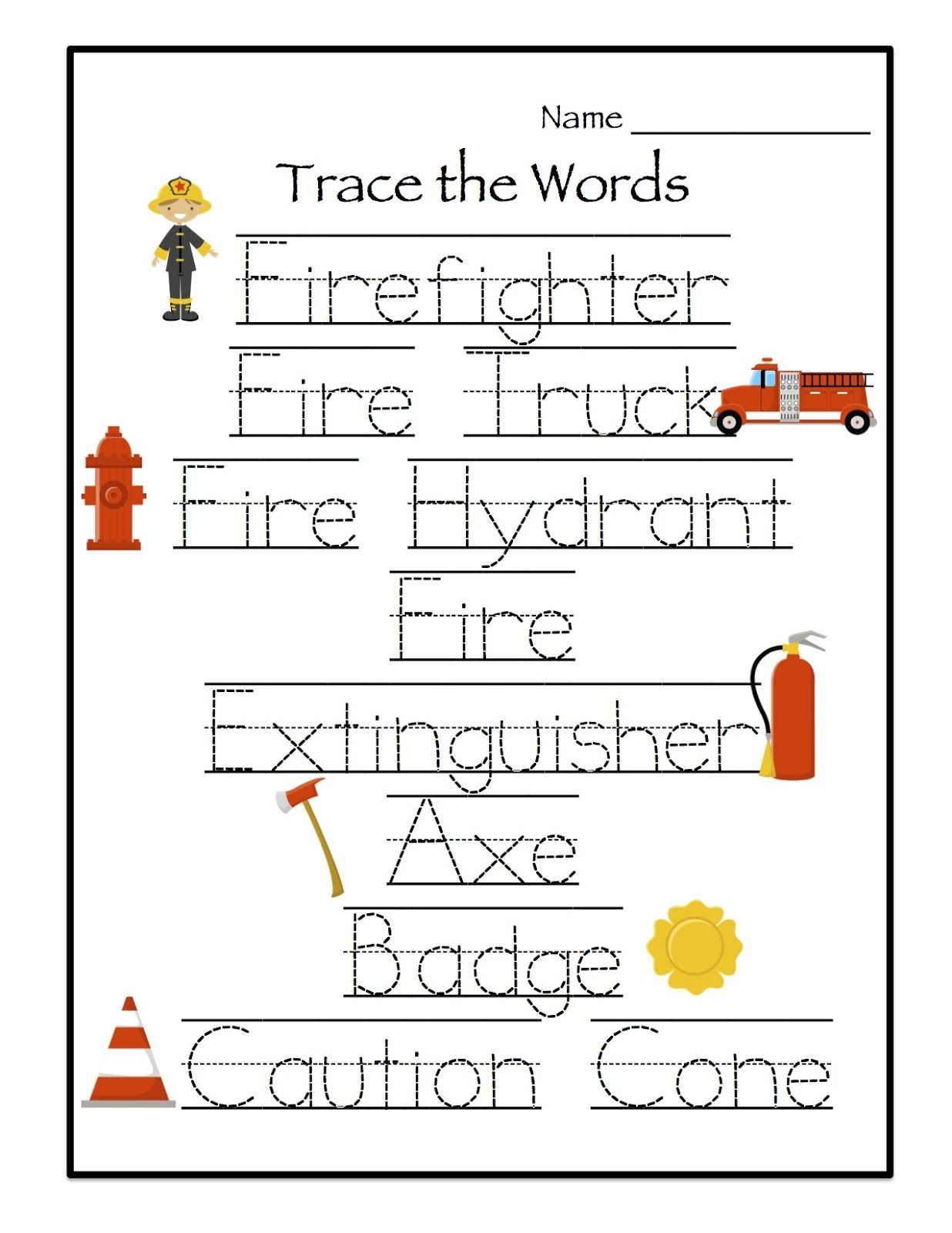 Fire Preschool Week Worksheet