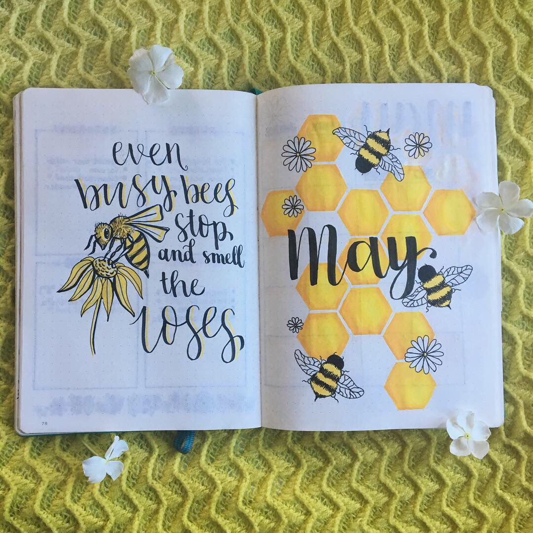 May Bullet Journal Bee theme   Creating a bullet journal, Bullet ...