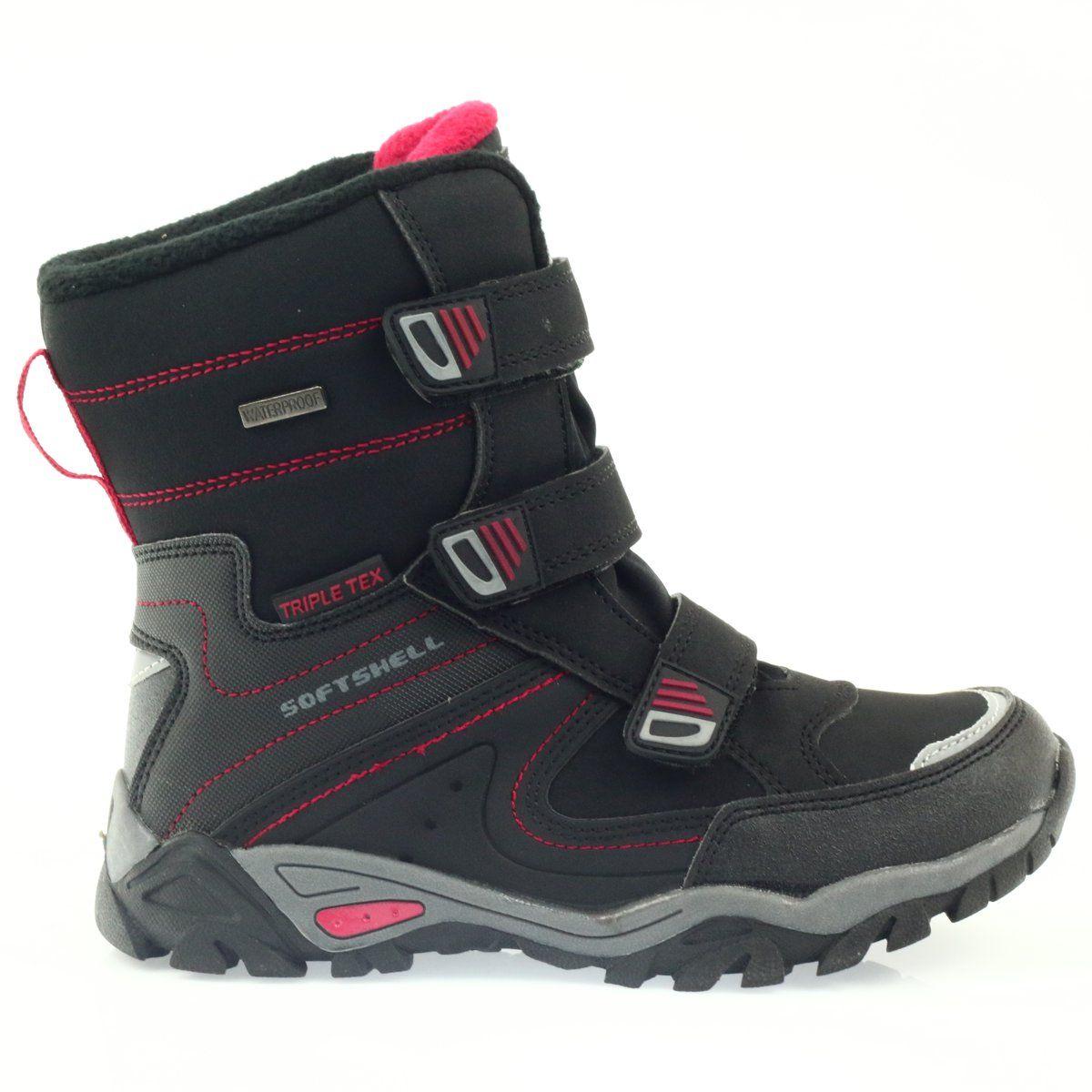 American Club American Kozaki Buty Zimowe Z Membrana 1809 Czarne Czerwone Boots Winter Boots Childrens Boots