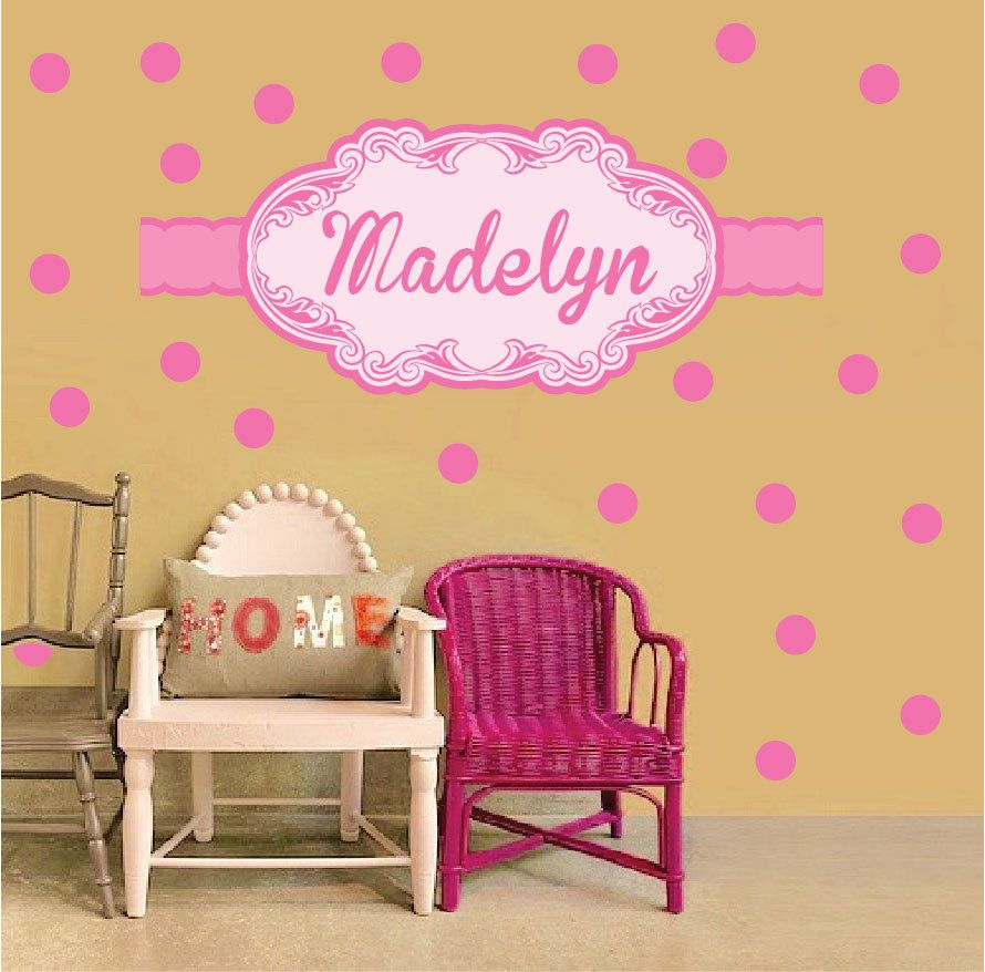 Girls Nursery Custom Name Wall Decal Monogram Wall Art Stickers for ...