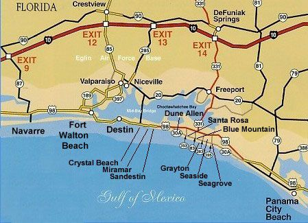 Destin Florida Map Pet Friendly Beach Front Vacation Als