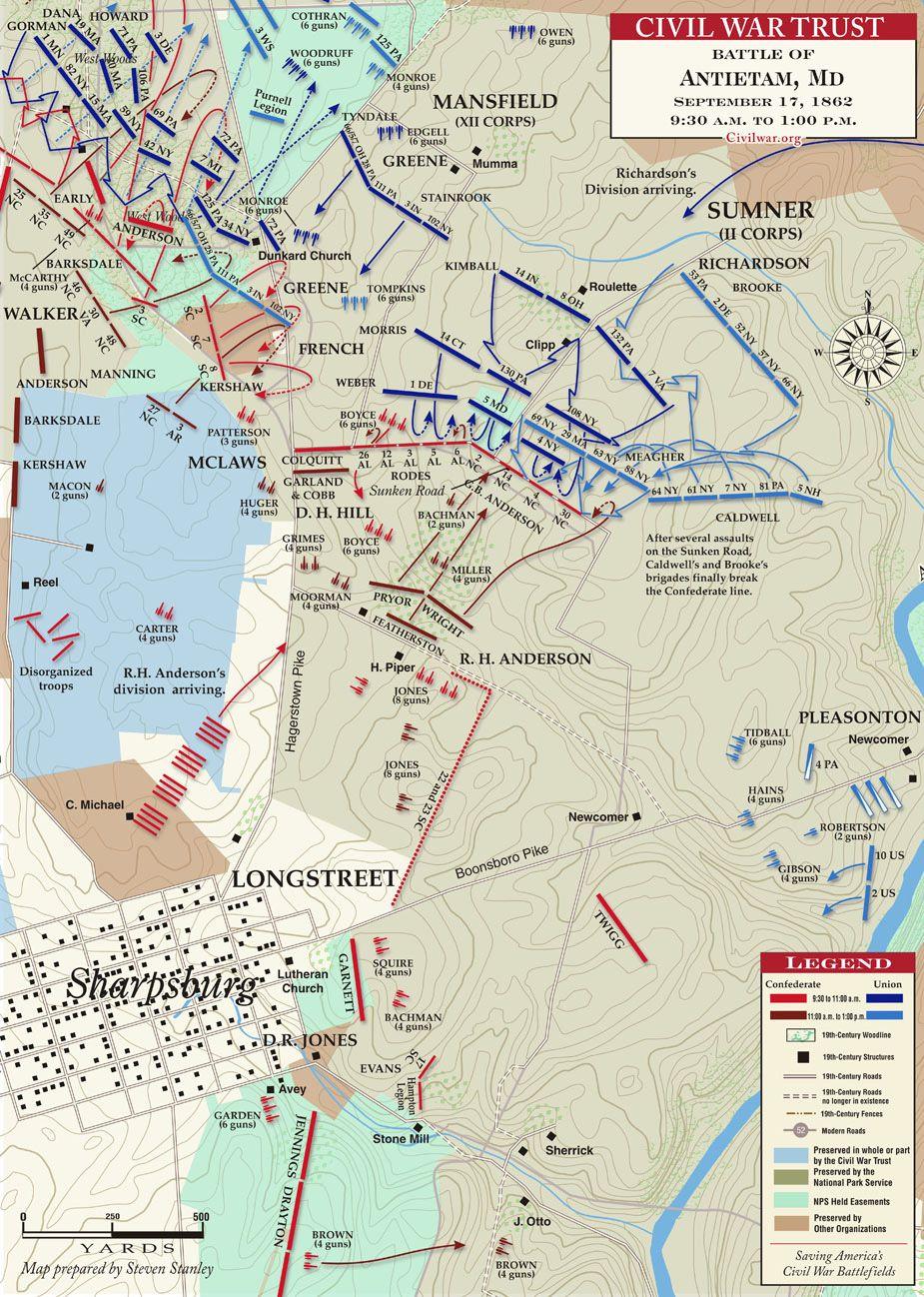 Antietam Sunken Road Am To Pm История Pinterest - Antietam on us map