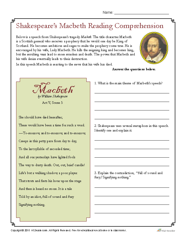Shakespeare S Macbeth Reading Comprehension Worksheet Reading