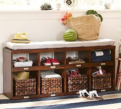 Pottery Barn S Storage Benches And Hallway Furniture Bring Order To Busy Entryways Find Entryway Style The Room