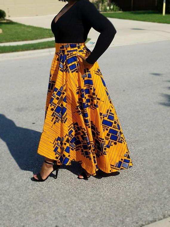 African Fabric Hi Low Maxi Circle Skirt Skater Skirt
