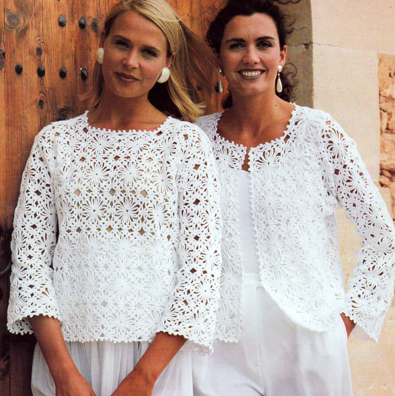 Vintage Crochet Pattern Granny Square Motif Tops Sweater Jacket Vest ...
