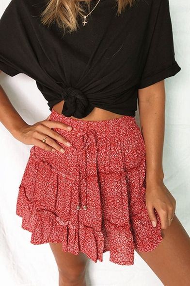 Photo of Womens Summer Trendy Floral Polka Dot Printed Tied Waist Mini A-Line Beach Skirt