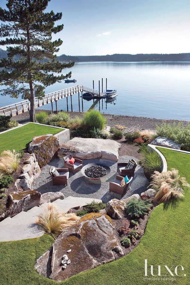 Lake bonfire pit | Lake landscaping, Backyard patio ... on Lakefront Patio Ideas id=30501