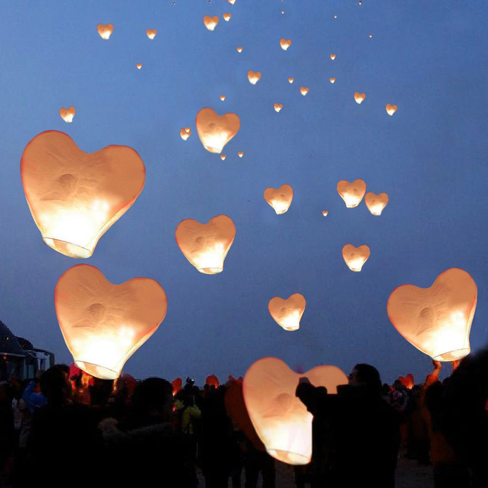 20 White Heart Paper Chinese Lanterns Sky Fly Candle Lamps ...