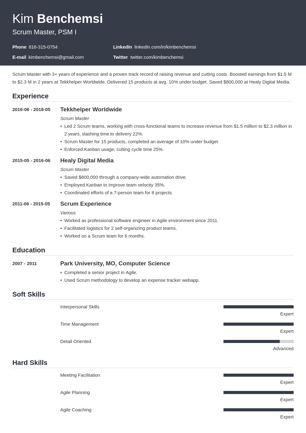 scrum master resume example template influx in 2020 Job