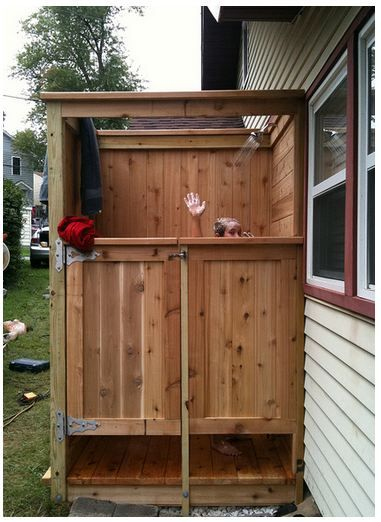 Simple out door shower with privacy doors this is on my for Luxus shower doors