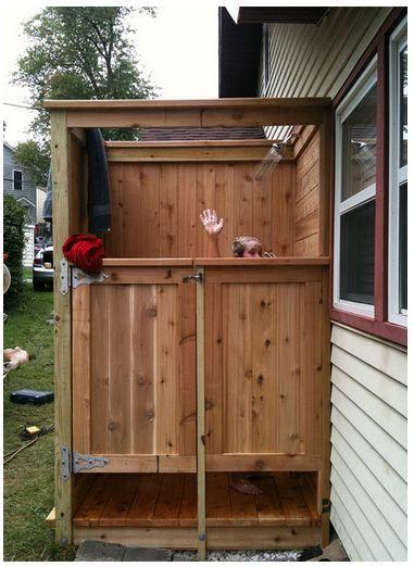Simple out door shower with privacy doors furniture for Outdoor shower doors