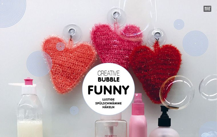 Süße Spülschwammherzen Aus Creative Bubble Häkeln Rico Design Diy