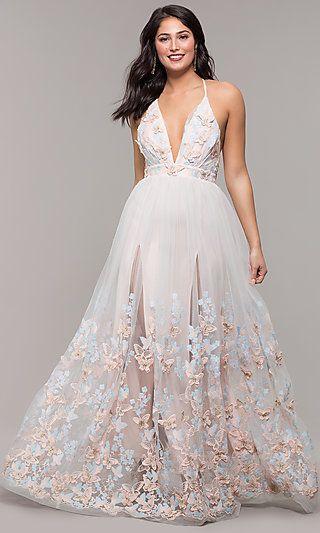 fe28e059c45 Long V-Neck 3-D-Appliqued Prom Dress by Kalani Hilliker in 2019 ...