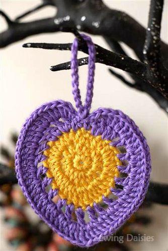 coração em crochet