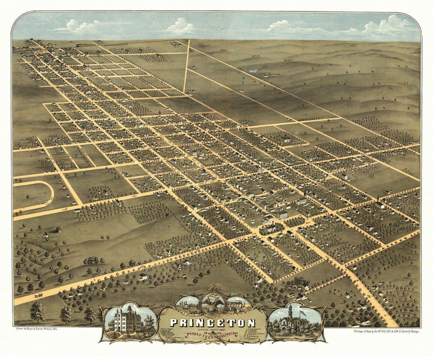 Illinois bureau county princeton - Vintage Map Of Princeton Illinois 1870 Princeton Bureau County Poster