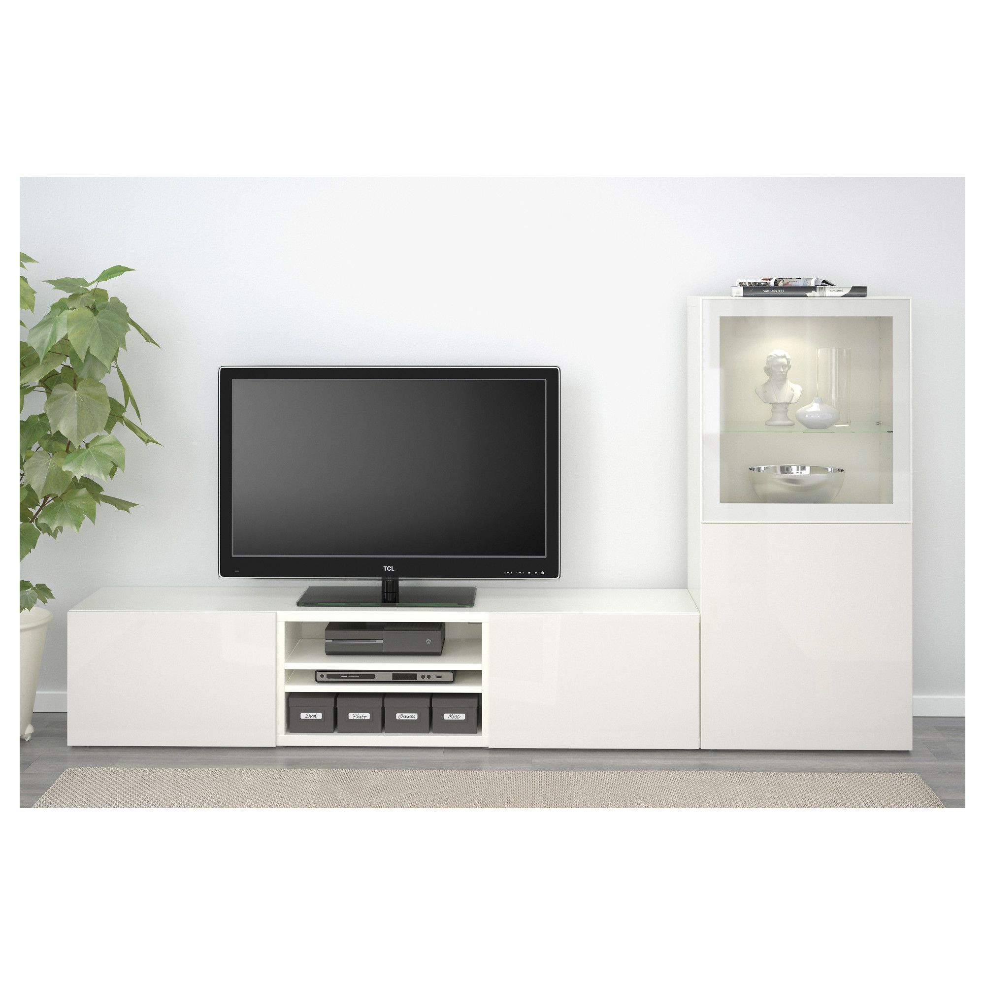 Ikea Bestå Tv Storage Combinationglass Doors White