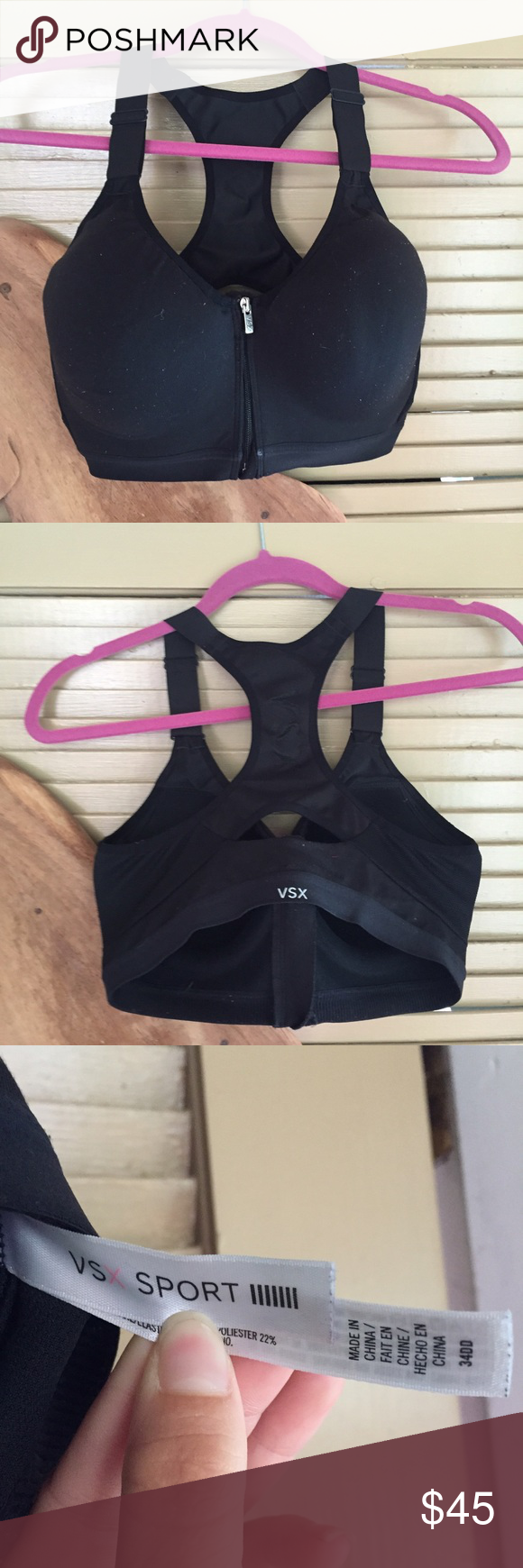 VS Sports Bra 34DD padded sports bra. Front zipper closure. Bought it to use as a nursing bra but never got the chance to use it. It has been through the wash already. Victoria's Secret Intimates & Sleepwear Bras