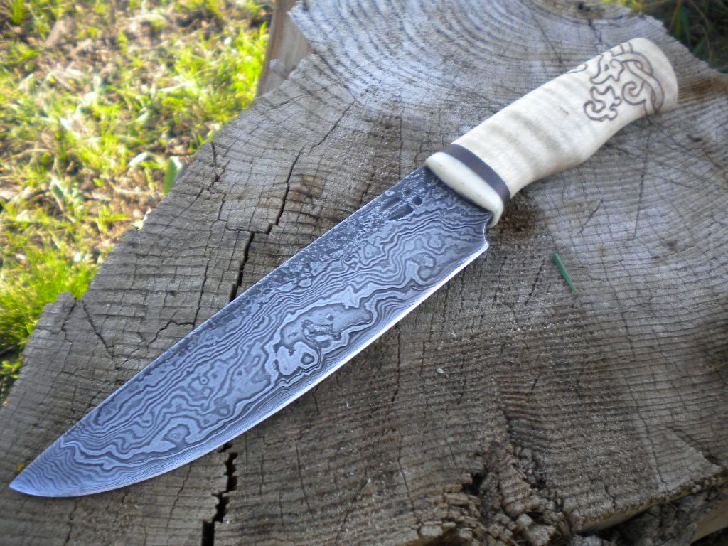 Damascus Puukko-ish Fighter By Hellize Dagger Knife
