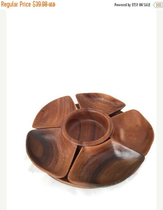 Acacia Monkey Pod Lazy Susan, Wood Turn Table, Sectioned, Serving ...