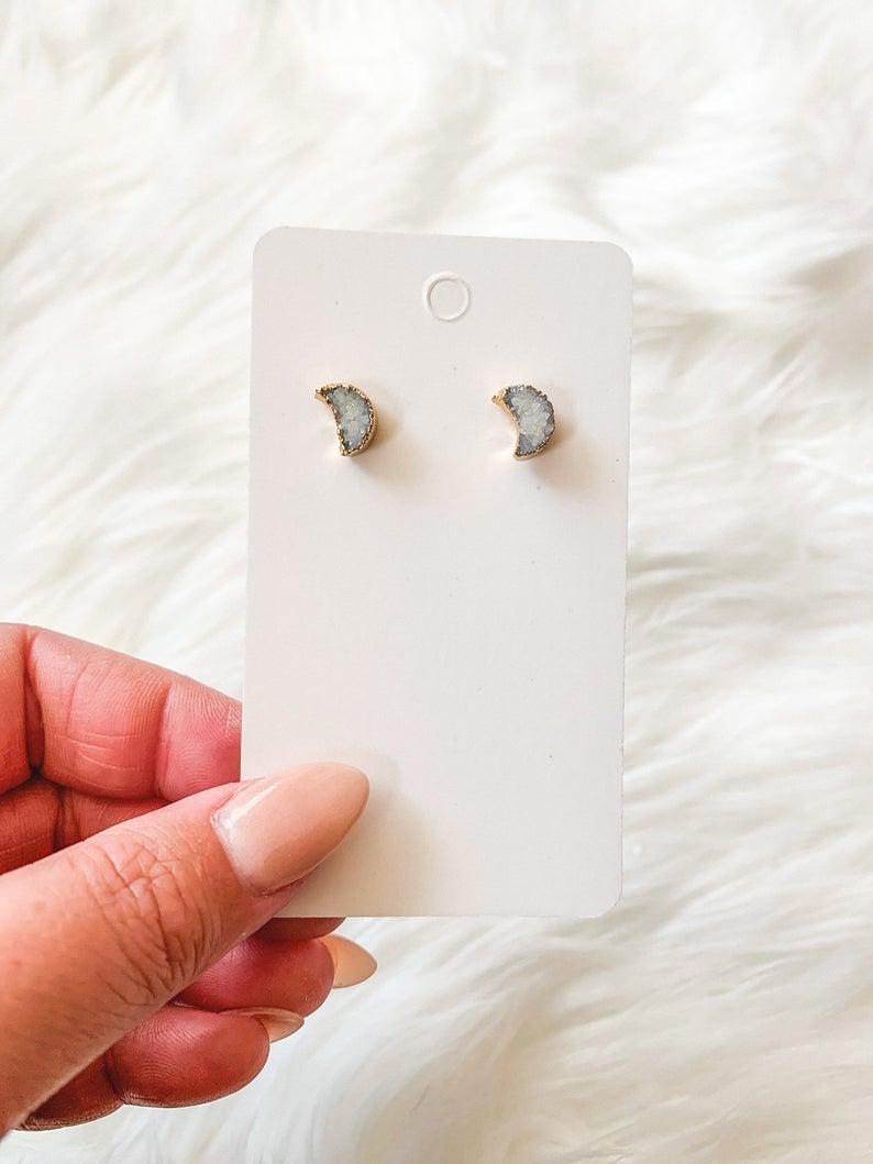 Photo of Mini Druzy Moon Earrings  Crescent Moon Earrings  Dainty | Etsy