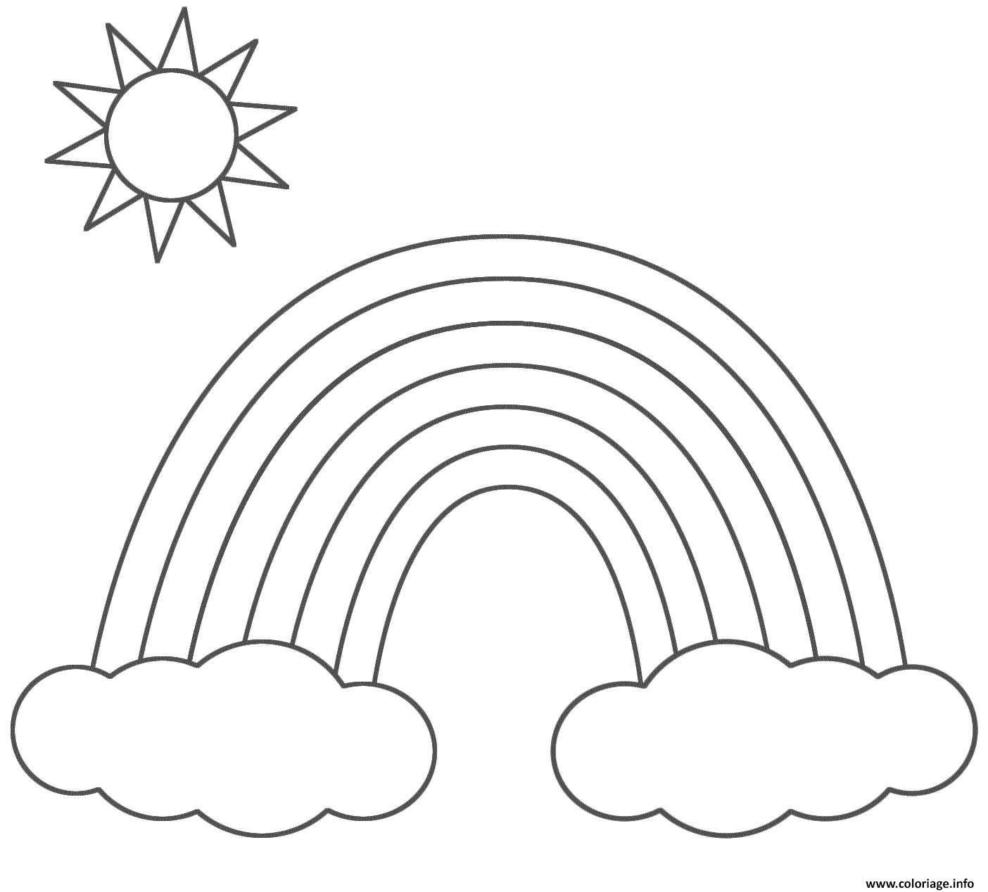Coloriage Arc En Ciel Nuage Et Soleil Dessin à Arc En Ciel Coloriage