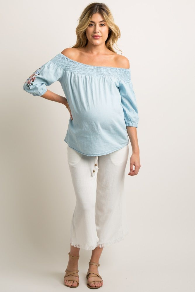 d46efad610b Light Blue Chambray Embroidered Smocked Maternity Top in 2018 | Cute ...
