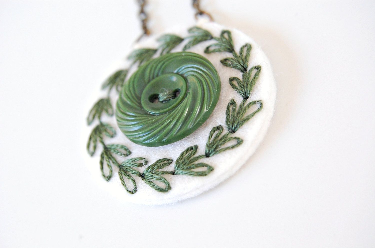 Embroidered  Wool Necklace. $25.00, via Etsy.