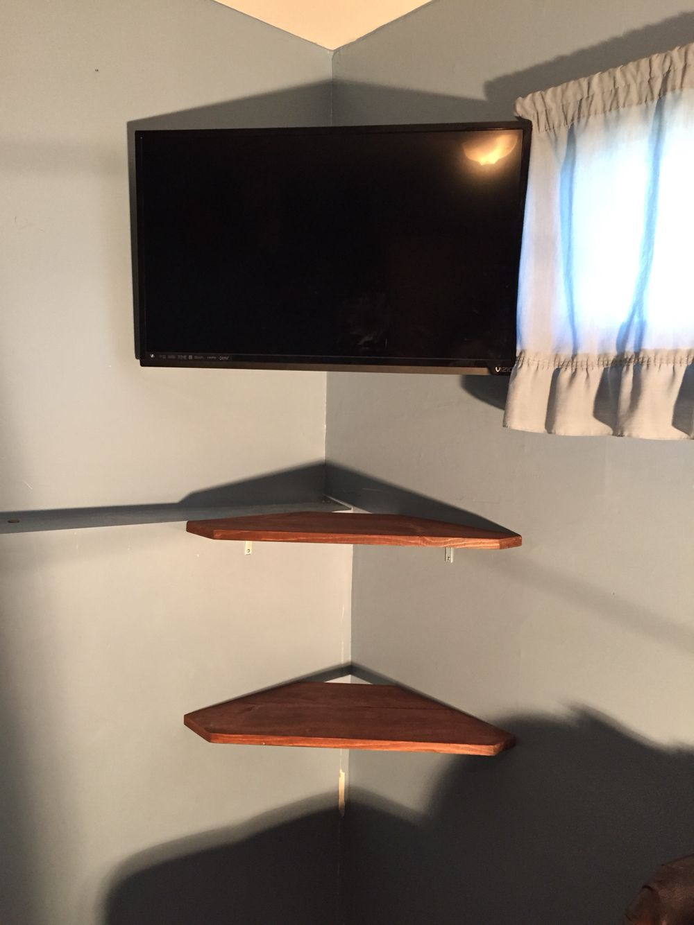 Corner Tv Mount And Shelves Wall Mounted Tv Diy Tv