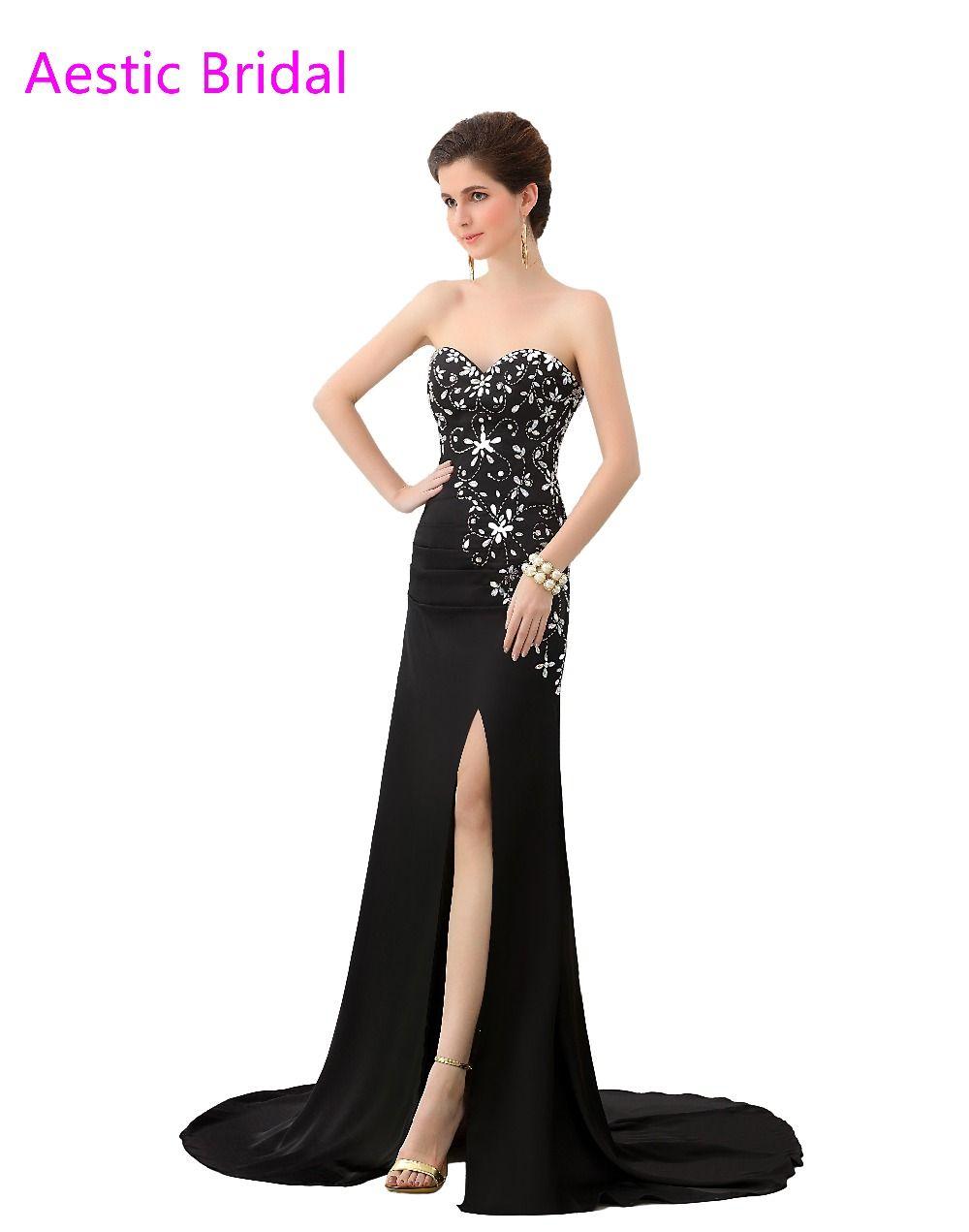 Click to buy ucuc vestidos de baile black sheath chiffon sweetheart