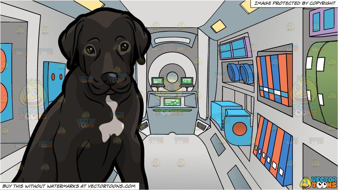 Clipart Cartoon A Cute Great Dane Puppy And A Space Shuttle