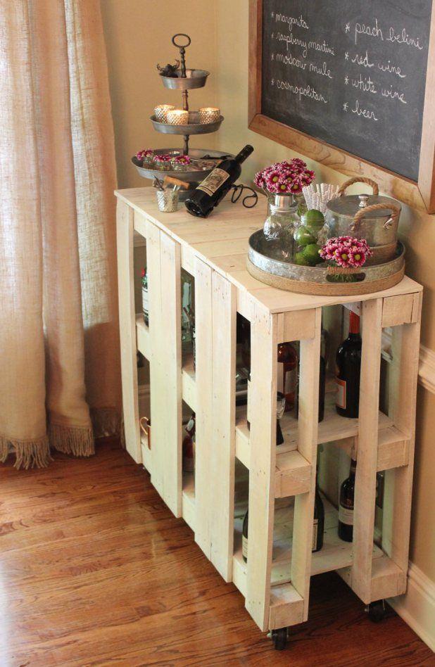 Diy Pallet Bar Cart Bar Table Diy Diy Home Bar Diy Bar Cart